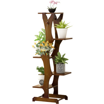 Flower Shelf Multi-layer Indoor Household Rack Balcony Flower Pot Rack Solid Wood Fleshy Living Room Green Plant Plant Stand
