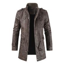 Moda zimowa skórzana kurtka mężczyźni akcesoria do motoru kurtki 2020 męska Plus aksamitne ciepłe płaszcze ze sztucznej skóry Casual Pu Outerwear tanie tanio XIPENG CN (pochodzenie) Polar Faux futra Sukno Skóra i zamszowe NONE Poliester Bawełna Leather Jacket men Stałe long