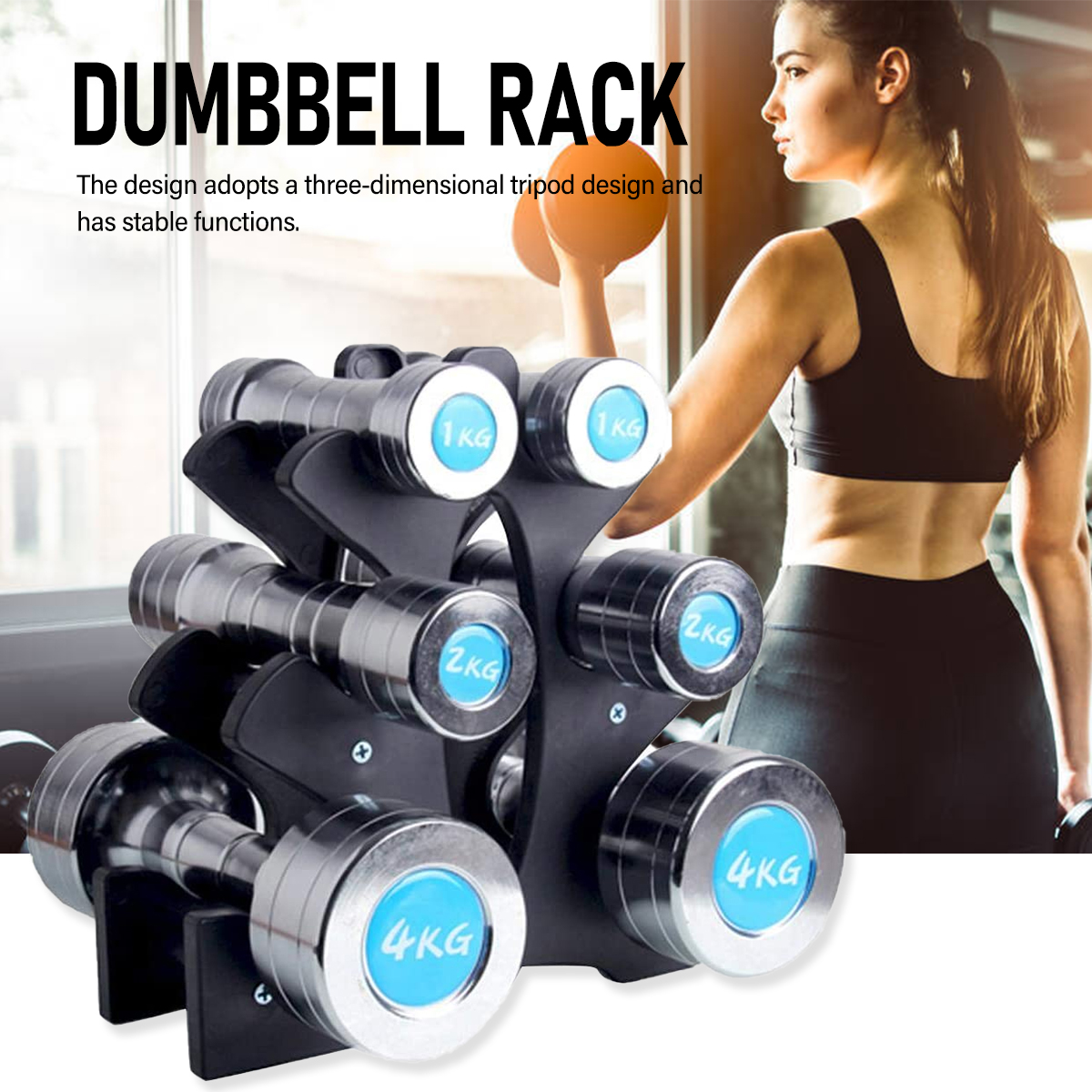 3-Tier Dumbbell Storage Rack Stand For Home Gym Exercise Multilevel Hand Weight Tower Stand For Gym Organization