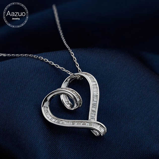 Aazuo Real Princess Diamonds 100% 18K White Gold Lovely Heart Pendent With Chain Necklace gifted for Women Wedding  Au750