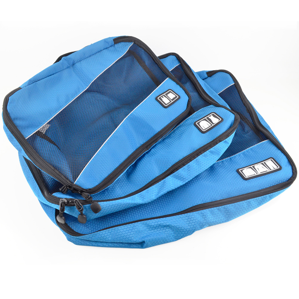 3pcs Travel Bag Set Portable Cubes Waterproof Easy Take Mesh Packing Clothing Luggage Large Capacity Multifunction Storage Pouch