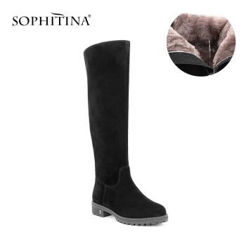 SOPHITINA Black Kid Suede Woman Knee-high Boots Round Toe Warm Plush Wool Fur Winter Boots Solid Handmade Leather Shoes B32 haraval handmade winter woman long boots luxury flock round toe soft heel shoes elegant casual warm retro buckle solid boots 289