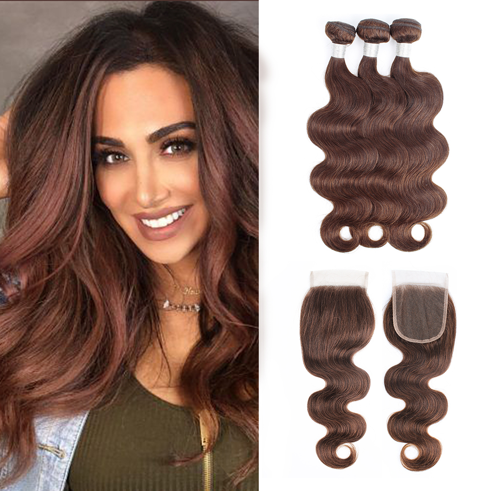 BOBBI COLLECTION 3/4 Bundles With Lace Closure Color 4 Chocolate Brown Pre-Colored Indian Body Wave Remy Human Hair Extensions