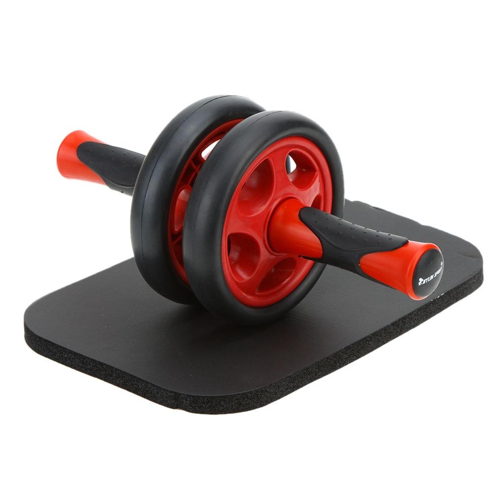 Rodillos Ab rueda Abdominal sin ruido rodillo Ab con estera para ejercicio equipo de Fitness estera de rueda Abdominal rojo gris
