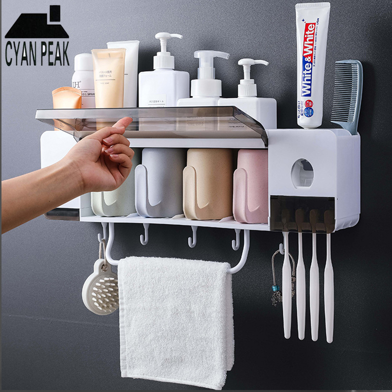 Automatic Wall Mount Toothbrush Holder with Cups Toothpaste Squeezer Dispenser Storage Rack Box Bathroom Accessories Set image