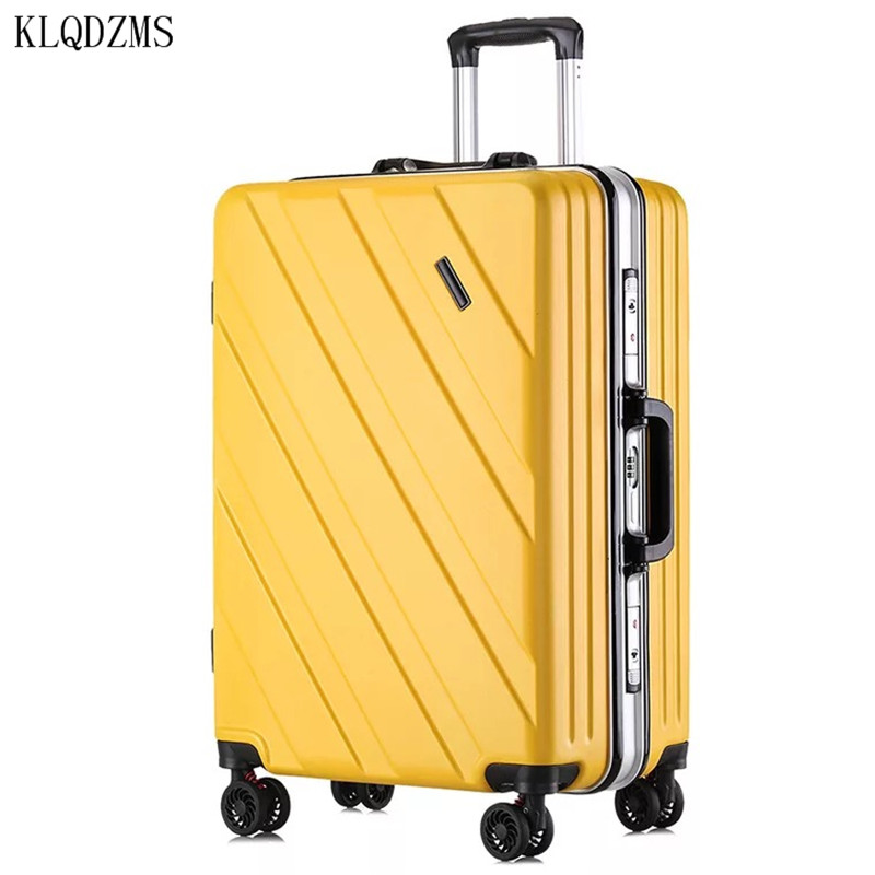 KLQDZMS Aluminum Frame Suitcase For Men And Women 20