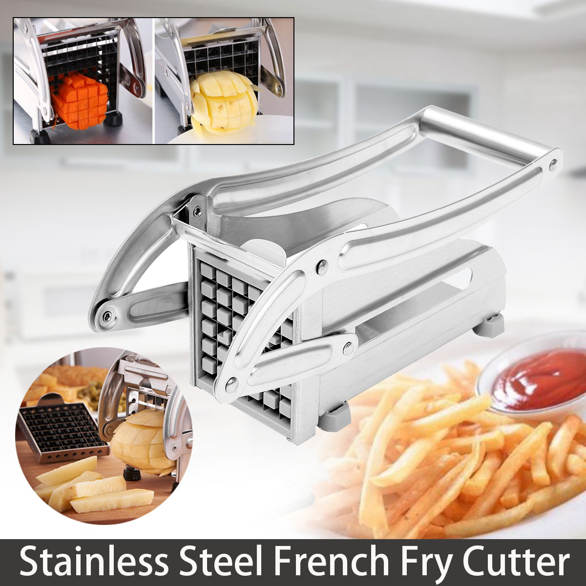 Stainless Steel French Fries Cutters Potato Chips Strip Cutting Machine Maker Slicer Chopper Dicer With 2 Blades Kitchen Gadgets