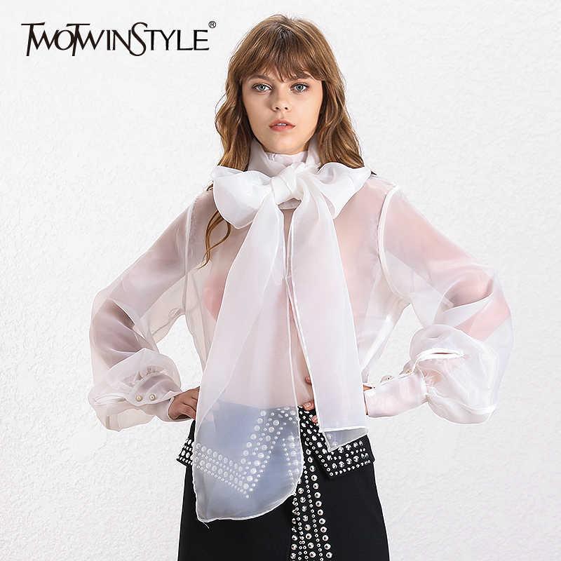 TWOTWINSTYLE エレガントな視点レディーストップスとブラウスランタンスリーブレースアッププラスサイズシャツ女性 2019 秋のファッション新しい