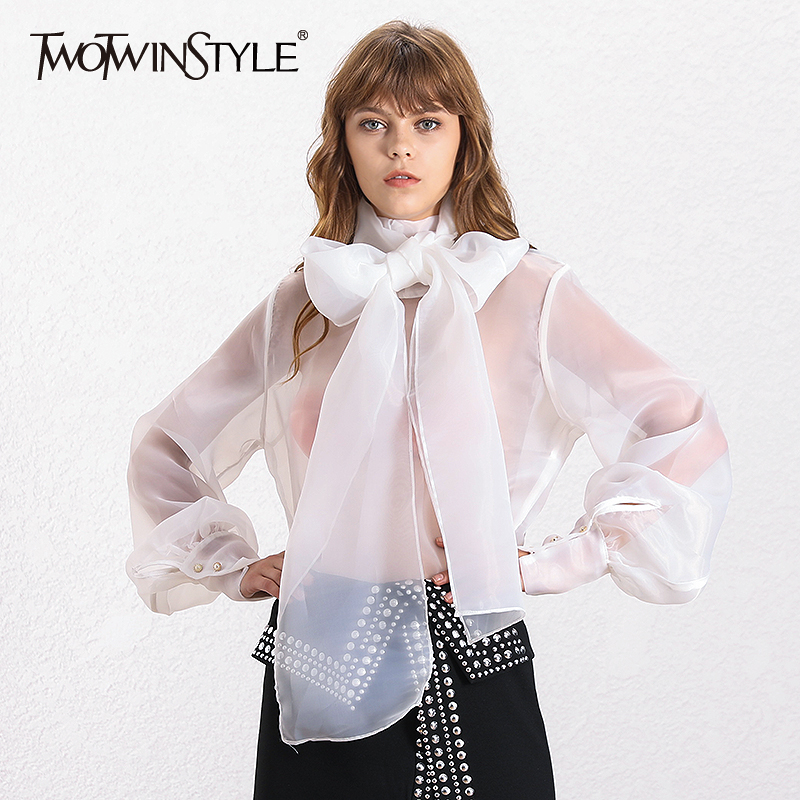 TWOTWINSTYLE Elegant Perspective Womens Tops And Blouses Lantern Sleeve Lace Up Plus Size Shirts Female 2019 Autumn Fashion New