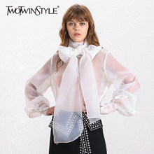 TWOTWINSTYLE Elegant Perspective Womens Tops And Blouses Lantern Sleeve Lace Up Plus Size Shirts Female 2019 Autumn Fashion New(China)