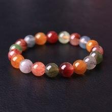 Браслет из натуральных драгоценных камней с цветными волосами
