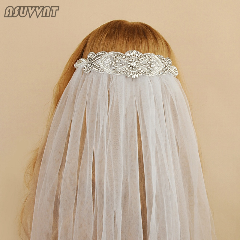 Fashion Bridal Crystal Veil With Rhinestone Women Tulle Dress Bridal Wedding Accessories  Cathedral Bride's Veil For Girl Party