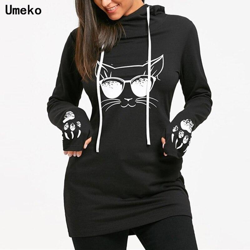 Umeko 2021 осенние модные женские хлопковые толстовки с круглым вырезом и длинным рукавом в повседневном стиле с мультяшным принтом кошки на шн...