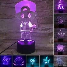 Figuras de acción de Pokémon en 3D, Set de juguetes de decoración para el hogar, lámpara de Jigglypuff, modelo de Pokemon, Ash, Ketchum, Magikarp, Snorlax