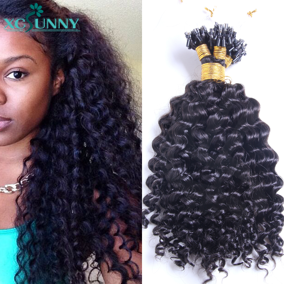 Microring Loop Hair Extensions Curly Hair Products Remy Brazilian Micro Ring Human Hair Extensions 1g/strand 14