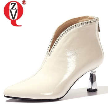 ZVQ 2019 autumn new fashion sexy ankle boots outside high heels zip rivet patent leather women shoes drop shipping size 33-40