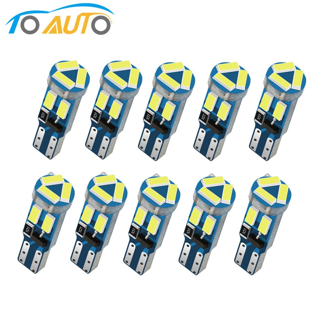 10 шт. T5 светодиодные лампы W3W W1.2W 17 37 73 74 автомобильная светодиодная лампа для приборной панели индикатор клиновидный свет лампочка 12 В