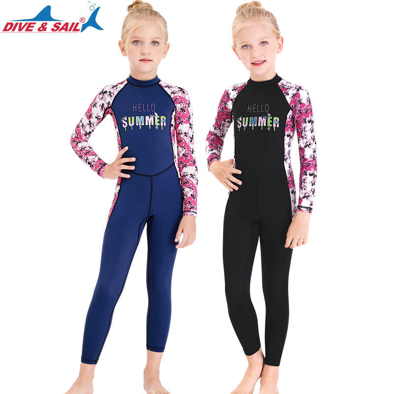 1pc Wetsuit Suit Swimsuit Rash Guard Sports Lycra Kids Girls Boys Sun Protection One Piece Water Up 50+ Long Sleeves Full Dive