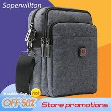Soperwillton Casual Men's Crossbody Bags USB Port Shoulder Bag Water-resistent Oxford Travel Bags Zipper Belt Bag Male Hot #1042