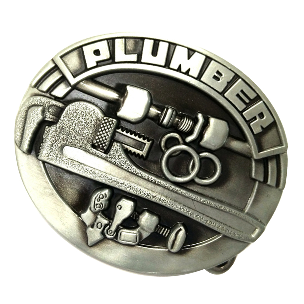 Carved PLUMBER 3D Saw Tools Pattern Oval Alloy Belt Buckle For Men Cowboy Leather Belt Accessories Antique Bronze