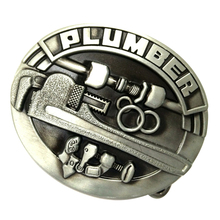 Carved PLUMBER 3D Saw Tools Pattern Oval Alloy Belt Buckle for Men Cowboy Leather Accessories Antique Bronze