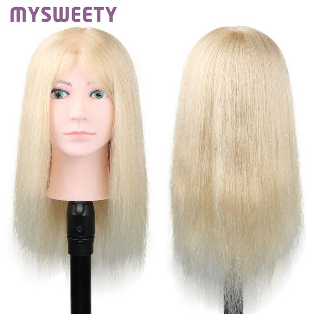 100% Human Hair Real Mannequin Hoofd Kapsel Training Doll Voor Bleach, Dye, Cut, Blow, krul 16 Inch Mannequin Pruik