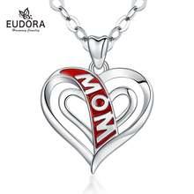 Eudora красное сердце кулон для мамы ожерелья с 18 дюймовым