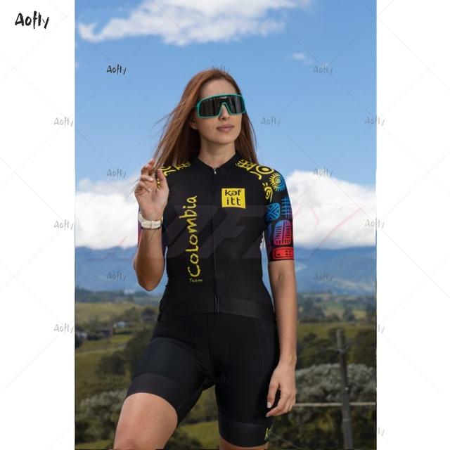 Kafitt equipe colômbia 2020 preto masculino feminino ciclismo terno sexy macacão feminino umidade wicking triathlon skinsuit uv reflexivo 1