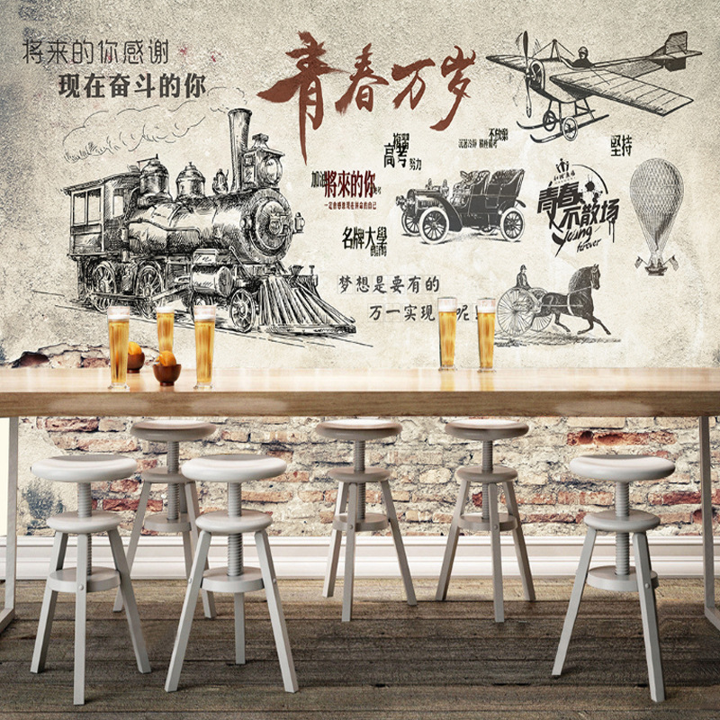 Retro Nostalgic Youth Wallpaper Coffee Restaurant Bar Cafe Hotel Wall Mural 3D Industrial-Style Wallpaper