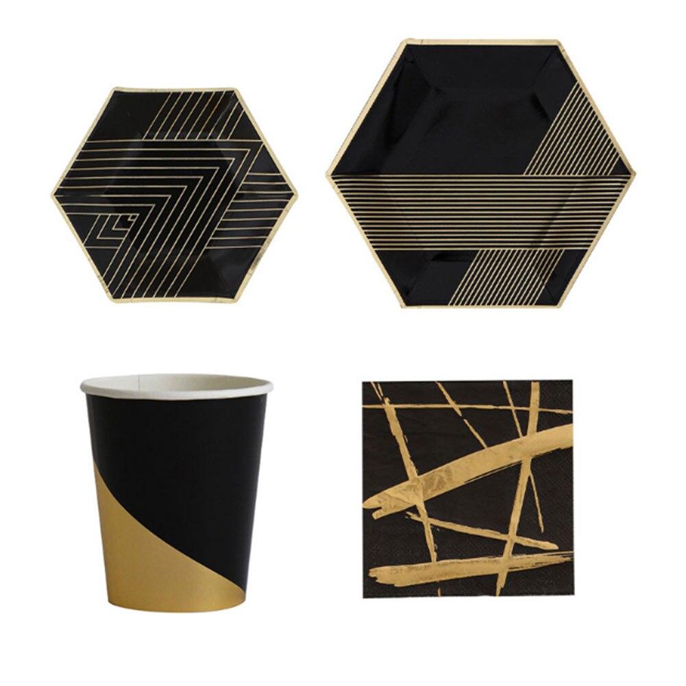 Одноразовая Золотая штамповка Черная бумажная посуда тарелки& чашки& полотенца одноразовые - Цвет: 8 plates