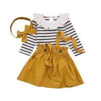 Fashion Autumn Newborn Baby Girl Long Sleeve Striped Print Romper+Strap Skirt+Headband Set