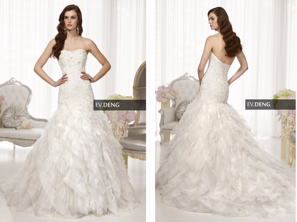Ruffles Organza Tiered New Sexy Casamento Appliques Vestido De Noiva A-line Wedding Dress 2016 Hot Sale Sweetangel Bridal Gown
