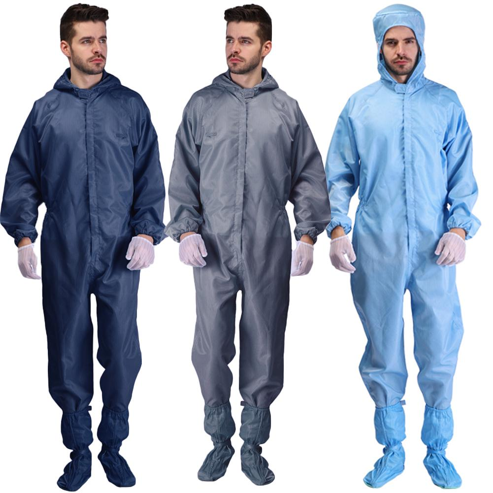 Unisex Disposable Protection Coverall Zipper Pocket Full Body Protection Coverall Anti-Becterial Hooded Safety Coverall Suit