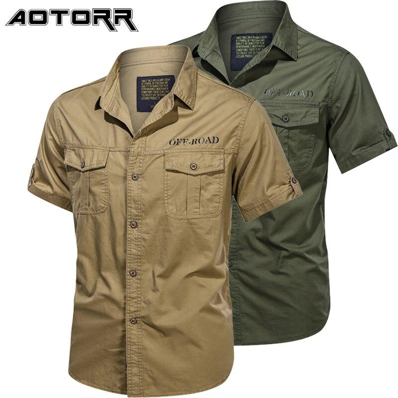 Рубашка мужская однотонная в стиле ретро, модная блуза-карго из чистого хлопка с короткими рукавами, мотоциклетная повседневная одежда, лет...