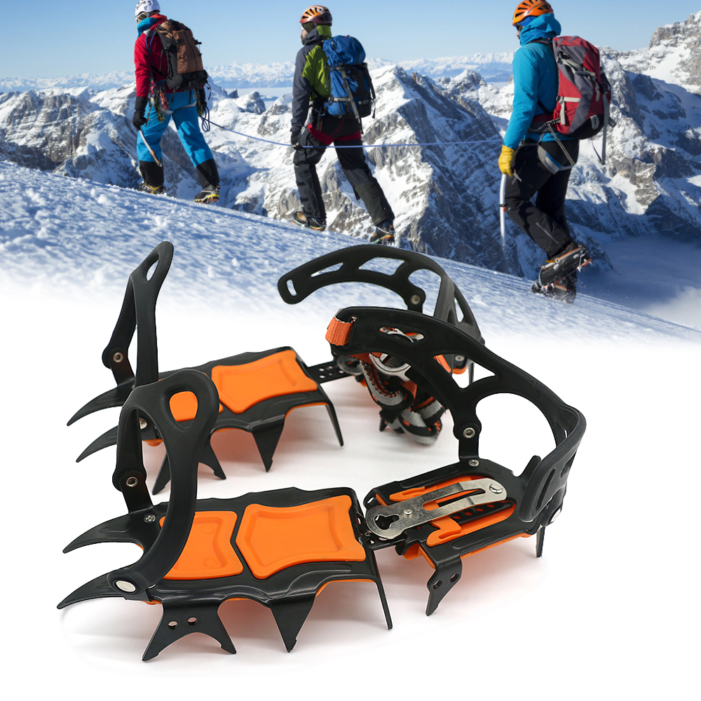1 Pair 12 Teeth Ice Gripper Non Slip Climbing Crampons Cleats Shoe Cover Ice Crampons Winter Snow Spikes Boot Shoes For Winter