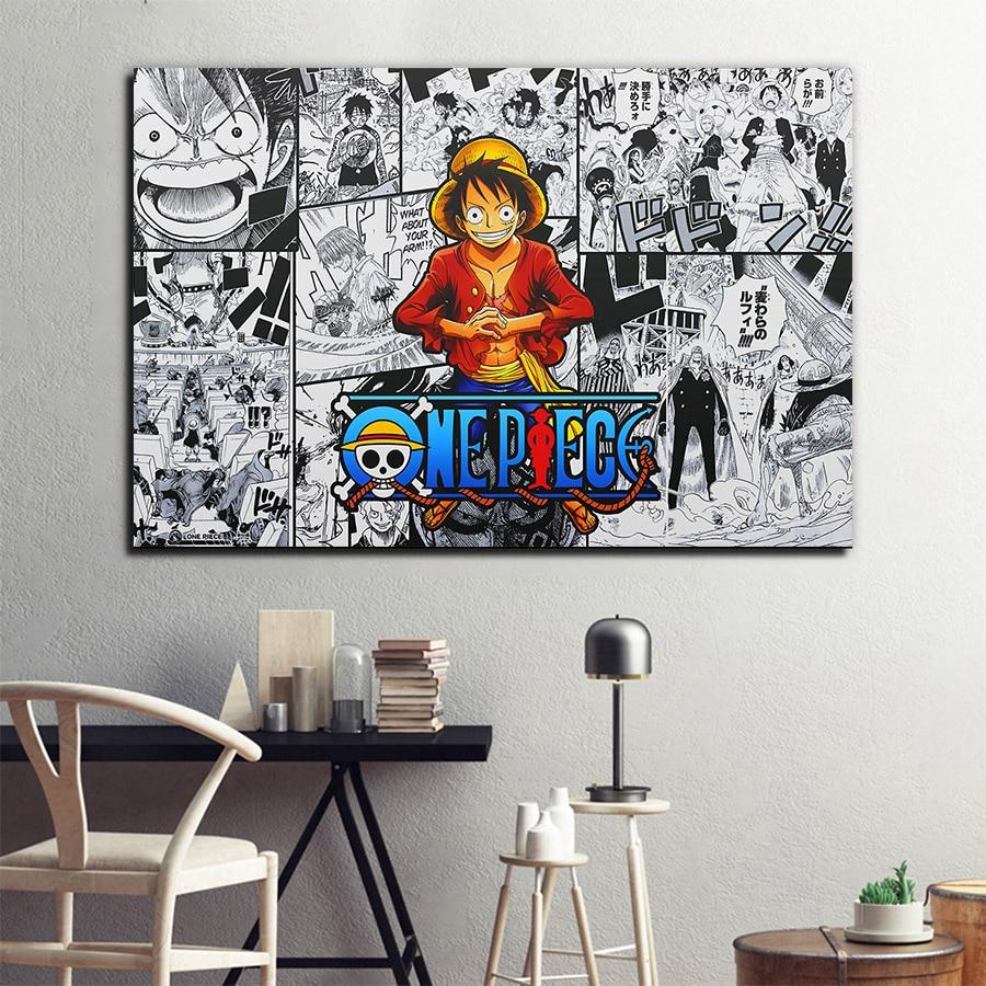 Um pedaço de anime cartaz luffy imagem crianças arte da parede pintura em tela na parede meninos quarto dormitório arte decoração