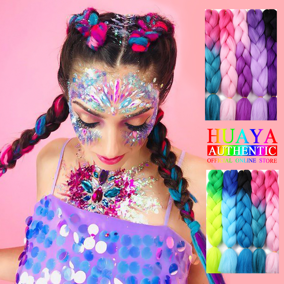 HUAYA  24 Inch Synthetic Braid Hair ExtensionsLong Ombre Jumbo Braid Crochet Braiding Hair  Green Gray Purple Gold Pink Red