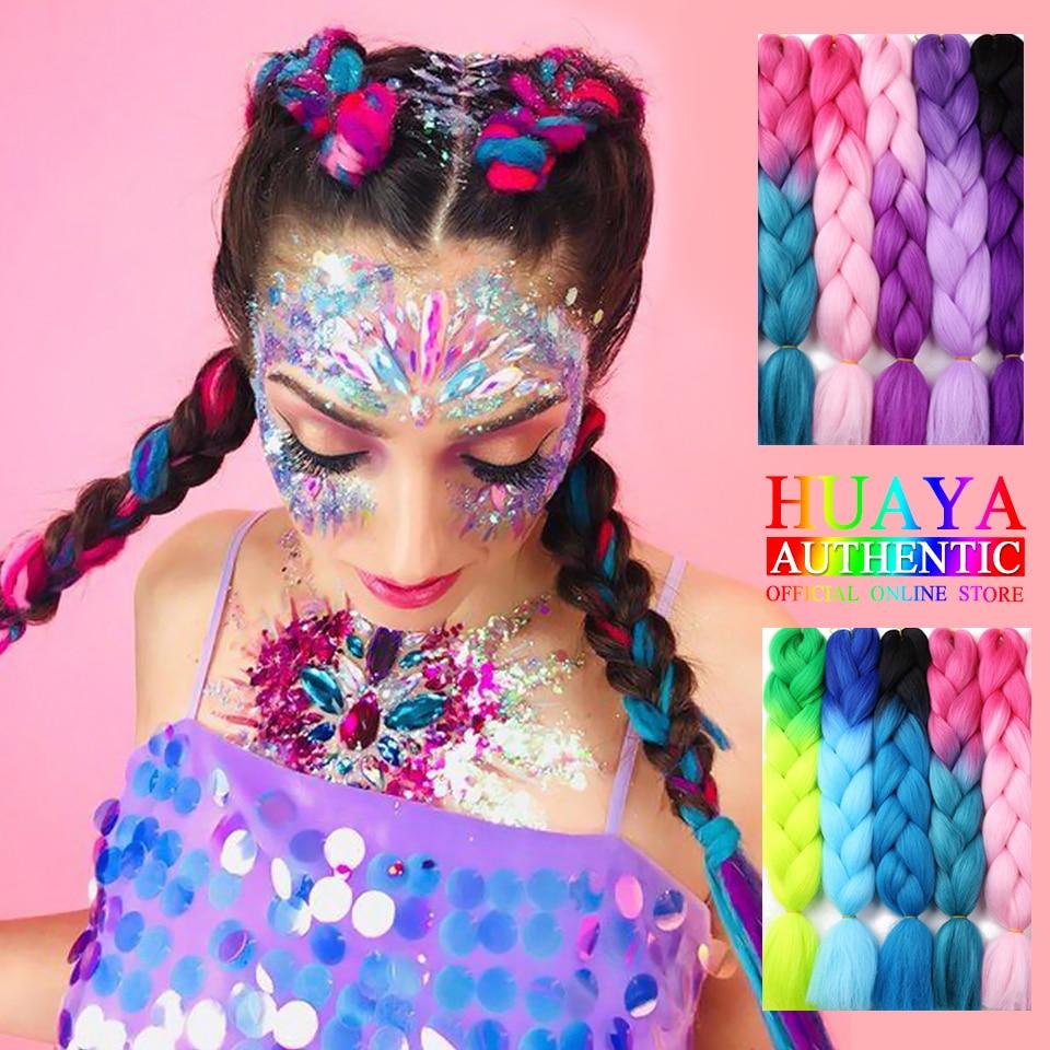 HUAYA  24 Inch Synthetic Braid Hair ExtensionsLong Ombre Jumbo Braid Crochet Braiding Hair  Green Gray Purple Gold Pink Red