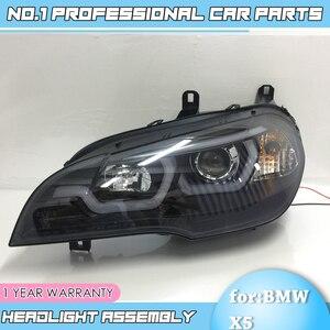 Image 3 - car accessories for BMW X5 e70 2007 2013 Headlight for BMW X5 Head Lamp Auto LED DRL Double Beam H7 HID Xenon bi xenon lens