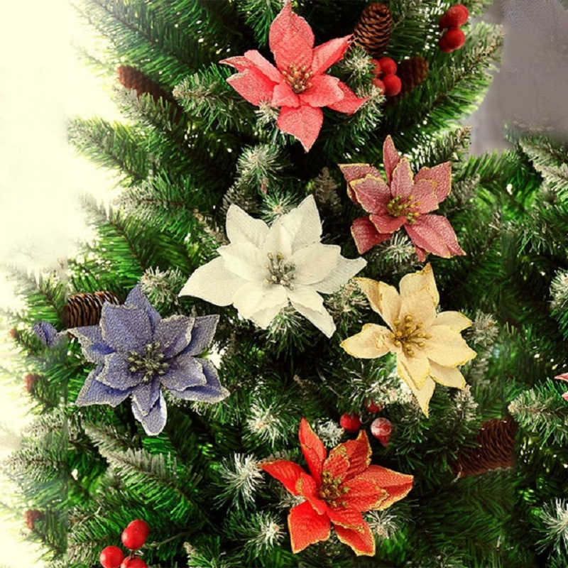 10pcs Kerstboom Ornament Krans Gift Party Decor Home Glitter Poinsettia Kunstbloemen Festival Tafel Nep Bruiloft