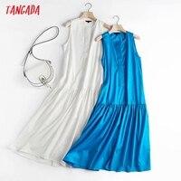 Tangada Women White Cotton Tank Dress Sleeveless Buttons 2021 Summer Fashion Lady Maxi Dresses High Quality 4C135 1