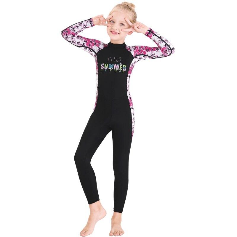 Kids Girls Boys Diving Suit Anti-proof Wetsuit Children Keep Warm One-piece Long Sleeves Swimwear