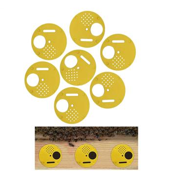 20 sztuk narzędzie pszczelarskie gniazdo pszczół wyposażenie drzwi okrągłe plastikowe Vent wejście Disc Bee Hive Nuc Box brama wejściowa narzędzie tanie i dobre opinie JIECARE Bee Nest Door 20 pcs plastic yellow