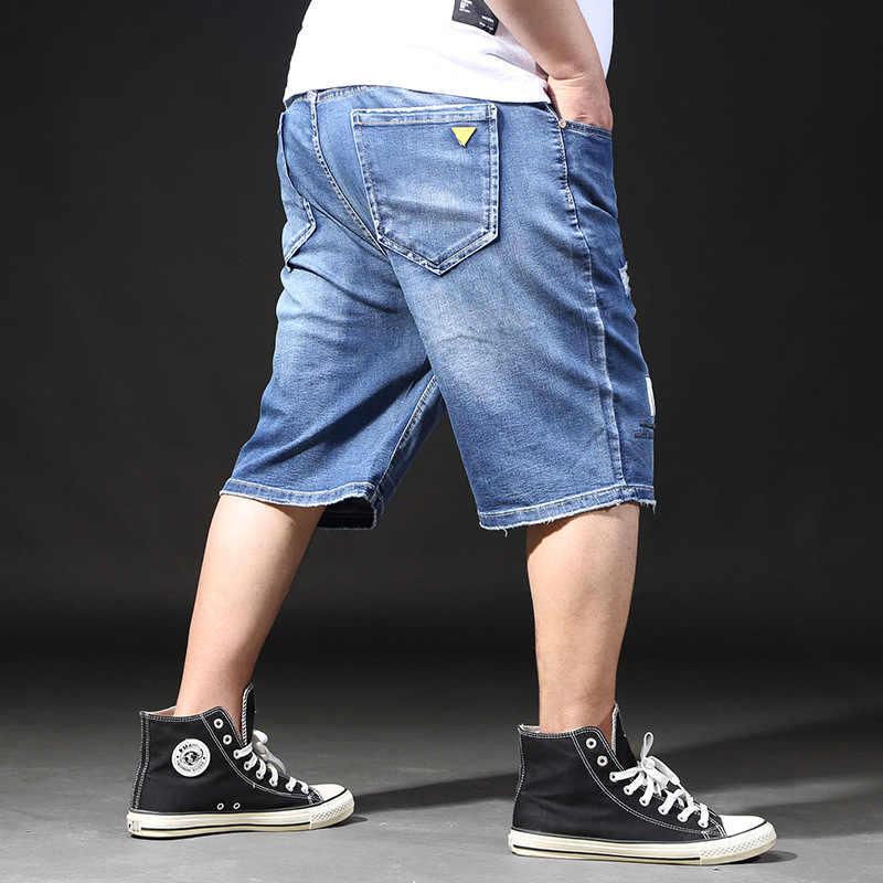 Calções de tamanho grande homens verão calças buraco afligido bermuda masculino vintage estiramento na altura do joelho jean jeans grande rasgado plus size shorts