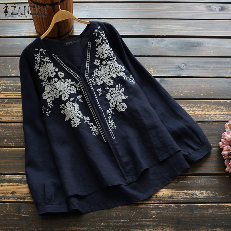 ZANZEA 2020 Vintage Women Embroidery Tops Blouses Casual Long Sleeve V Neck Tunic Blusas Work Shirts Chemiser Mujer Plus Size 7