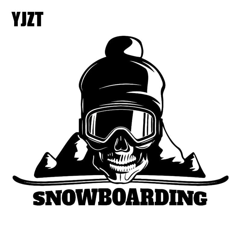 YJZT 17.8M*13.9CM Snowboard Skull Mountain Extreme Sport Fashion Car Styling Decor Vinyl Car Sticker Black/Silver C31-0122