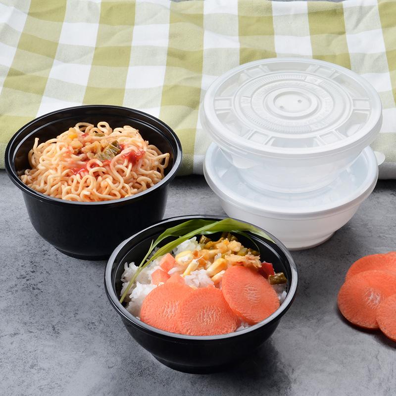 Disposable Fast Food Container Take-out Packaged Bowl Transparent Plastic Round Bowl Lobster Bean Jelly Hot And Sour Rice Noodle
