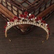 Diadema nupcial Vintage verde/rosa roja de cristal, diadema para novia, accesorios para el cabello de boda