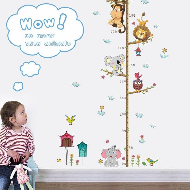 New  Cartoon Animal Height Measure Wall Sticker For Kids Rooms Growth Chart Nursery Room Decor Wall Art Deco
