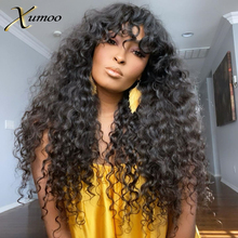 XUMOO Remy Brazilian Hair Wigs Black Color Body Wave Curly Human Hair Wigs With Bangs None Lace Wigs For Black Women Brazilian